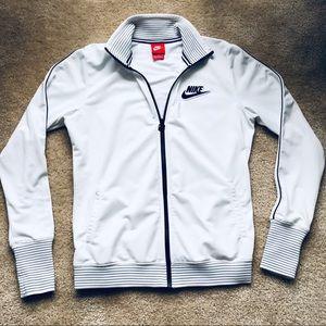 Nike Full Zip-Up Jacket White Black Striped Medium